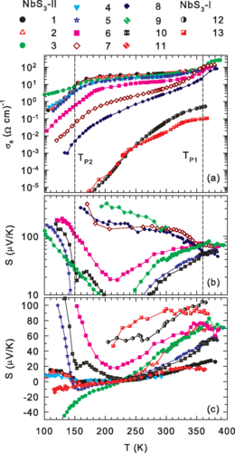 Thermoelectric power and its correlation with conductivity in $\mathrm{Nb}{\mathrm{S}}_{3}$ whiskers